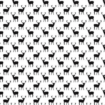 Little Woolf Fitted Crib Sheet in White+Black Deer, Tribal Bedding, Animal, Woodland Nursery, Gender Neutral, Baby Boy, Baby Girl, Modern