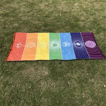 Cotton Of Bohemia 7 Chakra Mandala Blanket Tapestry