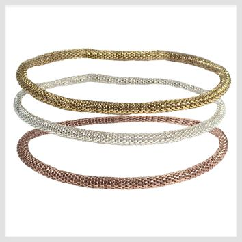 Mesh Chain Stretch Bracelets Trio in Rose Gold, 12K Gold and 925 Silver Plated 4MM Set of 3