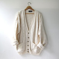 Vintage Cream Button Up Cardigan. Preppy Oversized Sweater Cardigan
