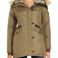 Vince Camuto - Chevron Faux Fur Down Fill Coat