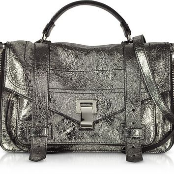 Proenza Schouler PS1+ Metallic Leather Medium Zip Satchel Bag