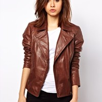 Urban Code Leather Biker Jacket With Quilting at asos.com