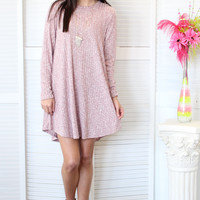 Sweetheart Ribbed Sweater Dress {Mauve}