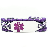 Personalized Thin Kids Medical Alert ID Paracord Bracelet w/ Stainless Steel Engraved ID Tag - Purple Medical Symbol