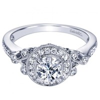 14K White Gold .78cttw Vintage Style Round Halo Diamond Engagement Ring