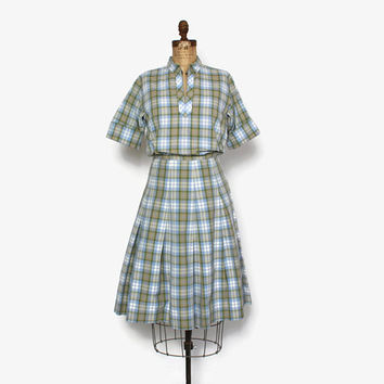Vintage 60s Plaid DRESS Set / 1960s Plaid Cotton Blouse & Full Skirt Matching 2 Piece