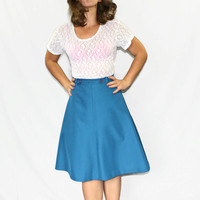 1960s wrap skirt. Vintage A line skirt. Teal skirt. Size SMALL. Back to school. Mad Men Fashion. Fall autumn fashion