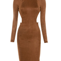 Clothing : Bodycon Dresses : 'Laurina' Tan Suedette Cut Out Dress