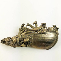Noah's Ark Figural Brooch Bronze Tone-Noah's Ark Brooch Signed AJC Bronze Vintage-Animal Theme