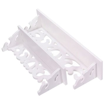 2 Pcs White Shabby Chic Candle Shelves Wall Hanging Shelf Bedroom Books Goods Storage Holder Living Room Wood Craft Home Decor