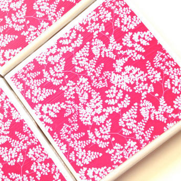 Pink Coasters, Ceramic Tile Set, Bar Coaster, Hot Pink Decor, Coaster Sets, White Fern, Furniture Coaster, Flowering Fern