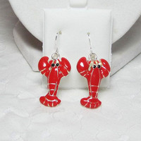 Orange Lobster Earrings Sea Life Beach Jewelry