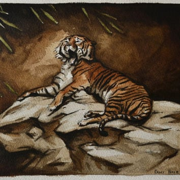 Bengal Tiger Painting Watercolor Original 8x10 by BohemianHabits