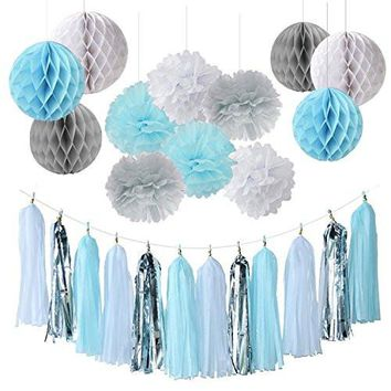 Baby Boy Baby Shower Decorations Baby Shower Backdrop Blue White Grey /First Birthday Boy Decorations Tissue Paper Pom Pom Tassel Garland Honeycomb Balls Elephant Birthday Decorations Boy