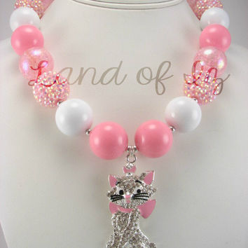 Pink and White Cat Marie from the Aristocats Bubblegum Chunky Necklace