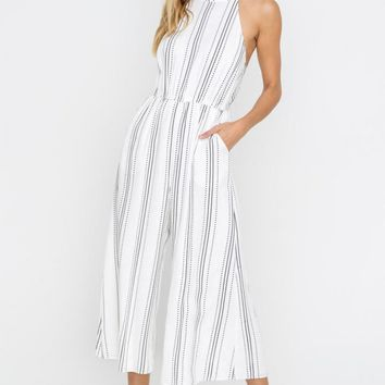 Halter Striped Wide Leg Jumpsuit