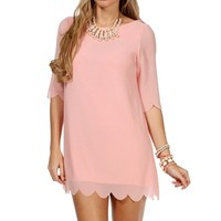 D. Pink 34 Scalloped Sleeve Tunic