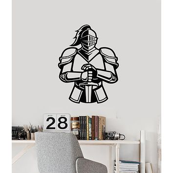 Vinyl Wall Decal Medieval Knight Armor Sword Boys Room Man Cave Decor Stickers Mural (ig6129)