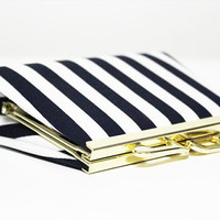 Women white and dark blue print cotton blend fabric Small Wallet and clutch with classic style