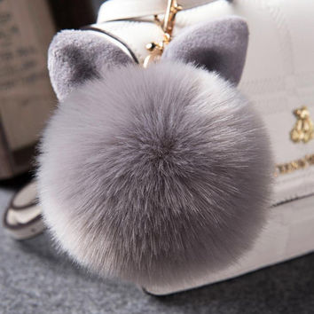 Fur Pom Pom Keychain Fake Rabbit