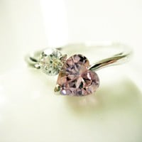 Pink Heart CZ Silver Ring R03