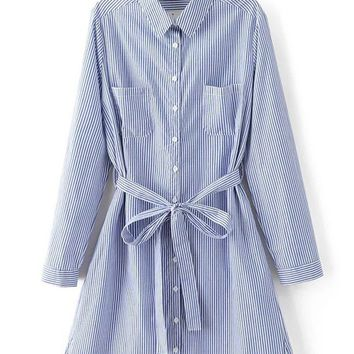 Streetstyle  Casual Bowknot Patch Pocket Single Breasted Vertical Striped Shirt Dress