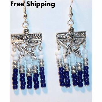 Dallas Cowboys Themed Artisan Crafted Chevron Design Chandelier Earrings