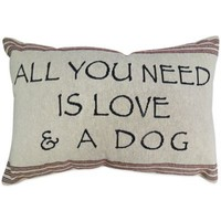 "The Vintage House by Park B. Smith® ""Need Love & Dog"" Tapestry Oblong Throw Pillow"