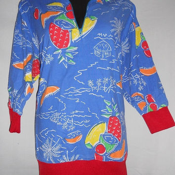 Vintage 80s Hawaiian Fruit All Over Print Pullover Collared Shirt Half Zip Red Accents three quarter sleeve summer light