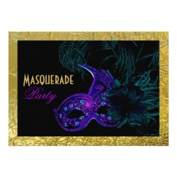 Masquerade Sweet Sixteen party blue, purple, gold 5x7 Paper Invitation Card