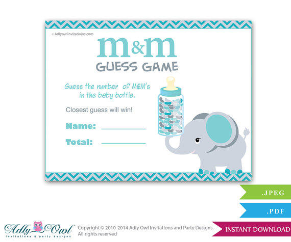 Boy elephant m amp m game guess how many from aoprintablesforkids on