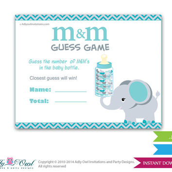 Boy Elephant M&M Game, Guess How Many Game Candies in the bottle  Baby shower  Elephant  Shower DIY Teal gray  Chevron- oz16bs50