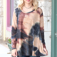 Loose Fit Tie Dye Knit {Taupe Mix}