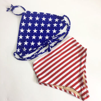 American flag halter retro swimsuit