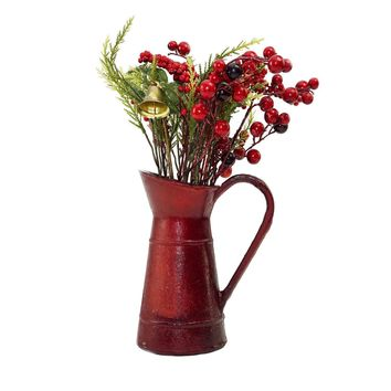 "13"" Red Berry and Foliage with Bell in Vintage Milk Jug Christmas Decoration"
