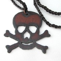 Large Crossbones Pirate Steel Skull Halloween Pendant Leather Cord
