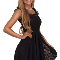 Juniors Cocktail Lace Round Neck Ruffle Sleeve Asymmetric Hemline Mini Dress