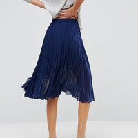 ASOS Pleated Midi Skirt with Wrap Front Detail at asos.com