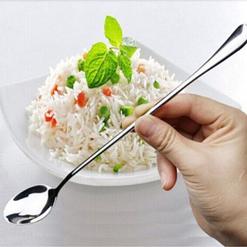 LINSBAYWU High Quality Ice Cream Tea Coffee Handled Long Handle Stainless Steel Spoons Flatware AE02606