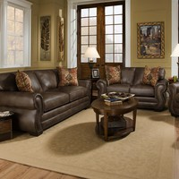 Corinthian 5310 Ulysses Chocolate Sofa and Loveseat