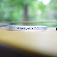 Bless Your Heart Bracelet - Country - Under 20 - Cuff - Southern - Rustic - Modern - Looks Like Silver