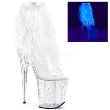 White Marabou Fringe Ankle Boot With 8 Inch Heels Stripper Boots