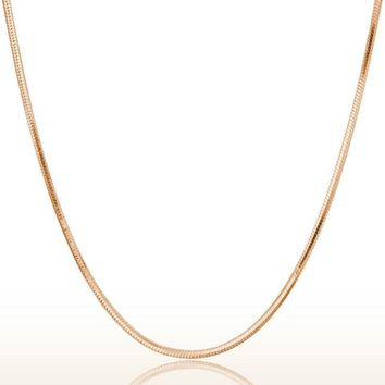 1PC 2mm Rose Gold Round Snake Chain Necklace Silver Tone 45cm