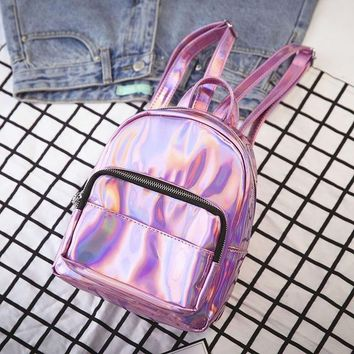 Women Silver Hologram Backpack Laser Back Pack Women Bag Leather Holographic Daypack Small Size Multicolor