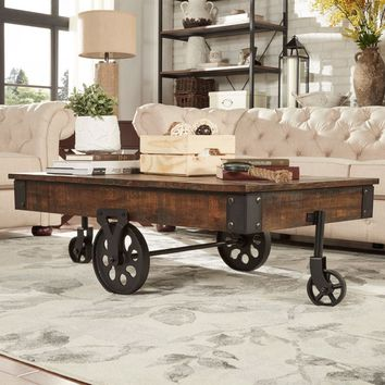 MD Vintage Industrial Modern Rustic 47-inch Coffee Table