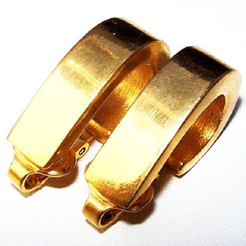 """Crown Trifari Gold Hoop Earrings Signed Clip On's 1"""" Vintage 1960s Hip, Edgy, Boho Chic, Gen X, Mod, Hippie"""