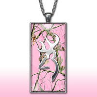 Pink Camo Pendant Charm Necklace Deer Head Browning Country Girl Custom Necklace Hunting Silver Plated Jewelry