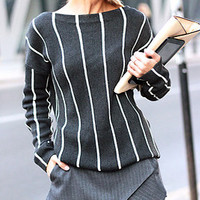 STELLA Pinstripe Knit Sweater - Grey