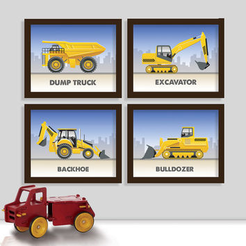 Construction Equipment Bedroom Prints - Tractor Nursery Art Print - Bulldozer - Excavator - Backhoe - Bulldozer - Set of Four Prints